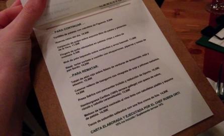 Carta del Restaurante Carlitos en Barcelona
