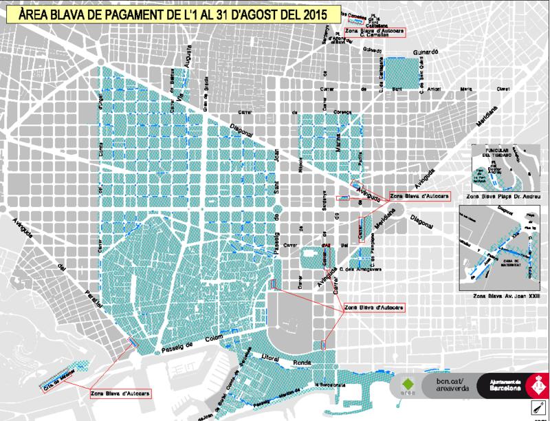 Mapa: Aparcar gratis en Barcelona en Agosto